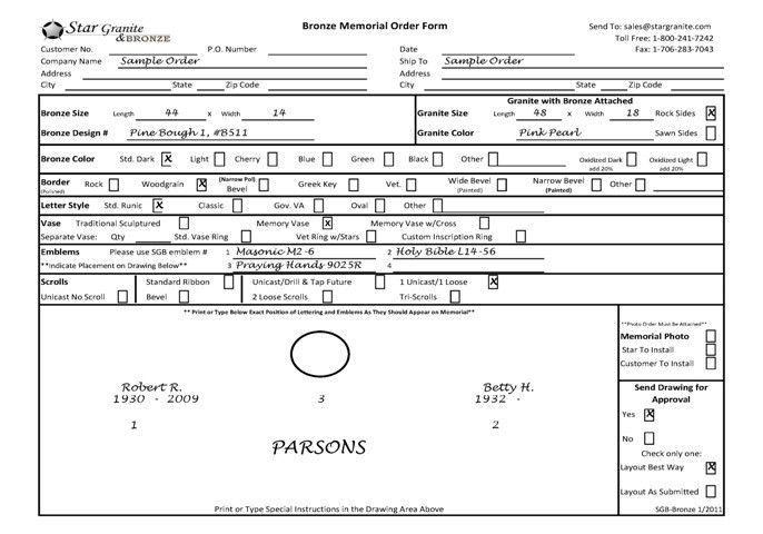 U.S. Order Forms : Star Granite