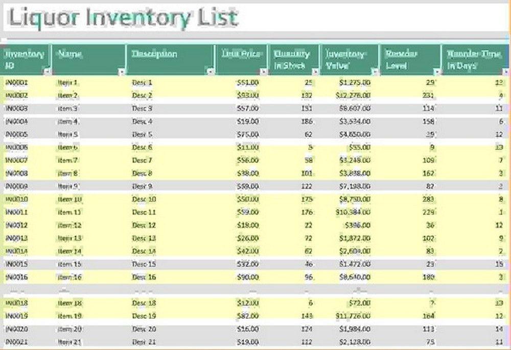 bar inventory list template | Wolfskinmall