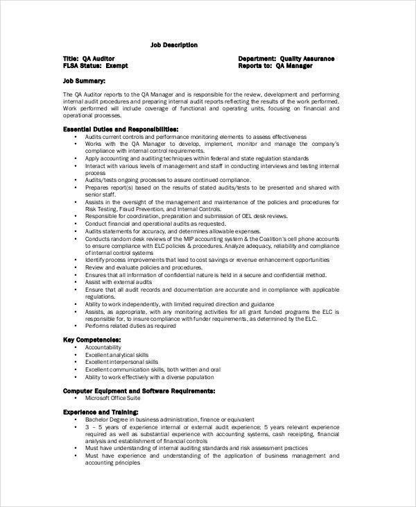 Quality Control Job Description - 11+ Free PDF, Word Documents ...