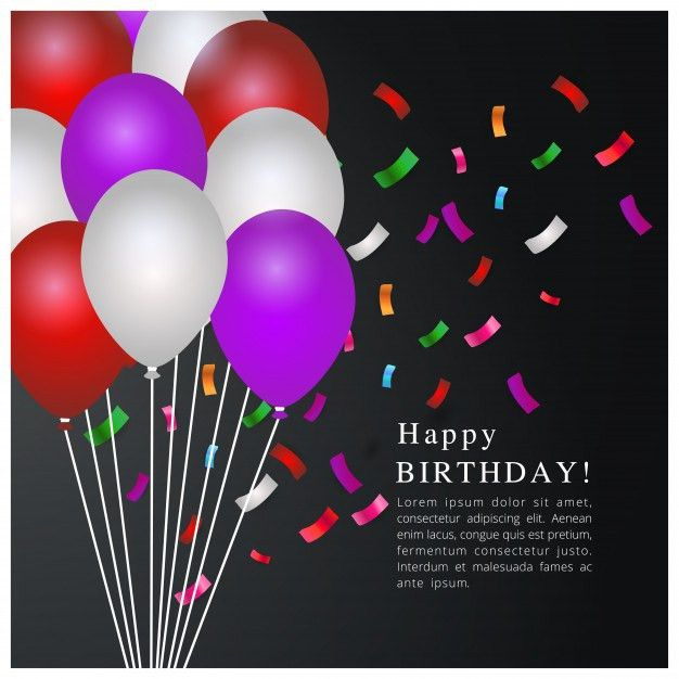 Birthday template with balloons Vector | Free Download