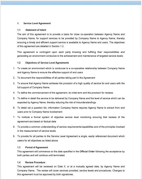 11 Free Sample Professional IT Service Agreement Templates ...