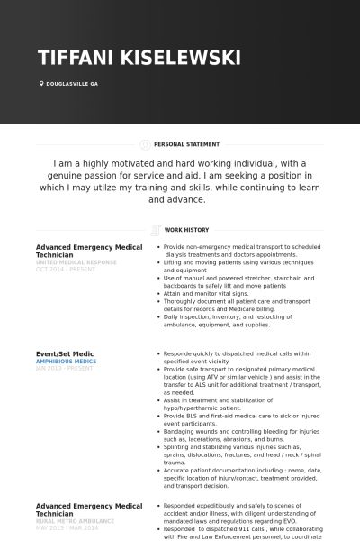 Emergency Resume samples - VisualCV resume samples database