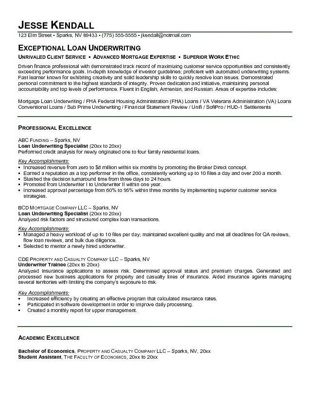 Mortgage Underwriter Resume | The Best Letter Sample