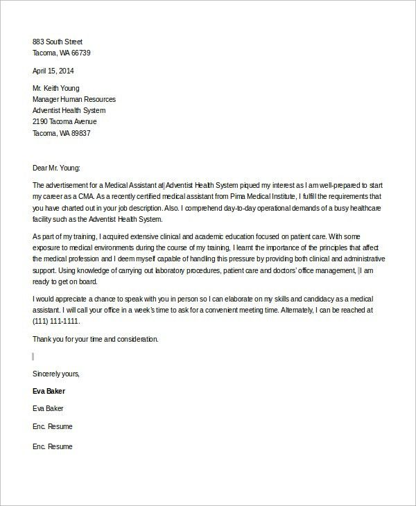Sample Medical Assistant Cover Letter - 8+ Examples in Word, PDF