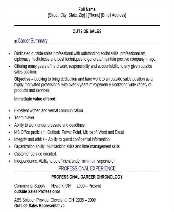 Sample Sales Job Resume - 11+ Free Samples, Examples Format ...