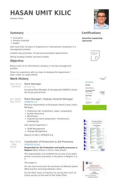 Plant Manager Resume samples - VisualCV resume samples database