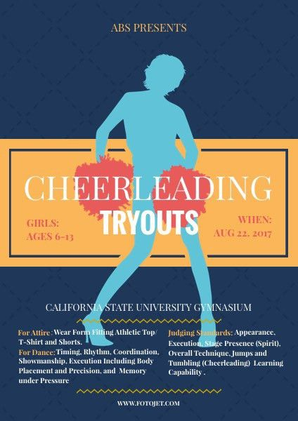 Cheerleading Tryout Flyer Template Template | FotoJet