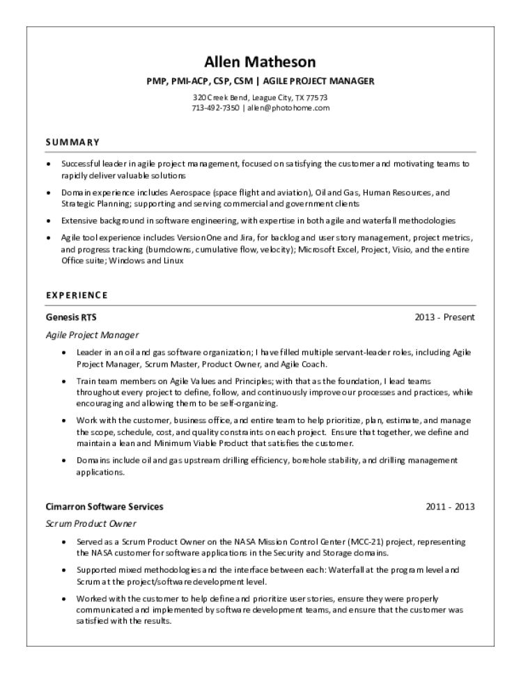 Project Manager Resume Samples - Download Free Templates in PDF ...