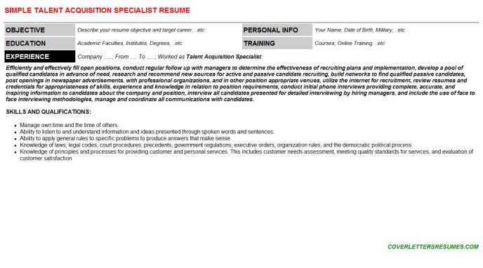 Talent Acquisition Specialist Cover Letter & Resume