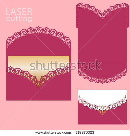 Vector Die Laser Cut Envelope Template Stock Vector 557376160 ...