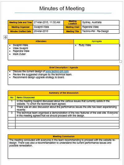Meeting Minutes Template | Project Management Templates ...