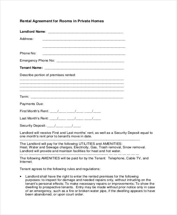 Sample Room Agreement Form - 8+ Free Documents in PDF