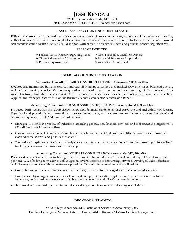 Free Accounting Consultant Resume Example