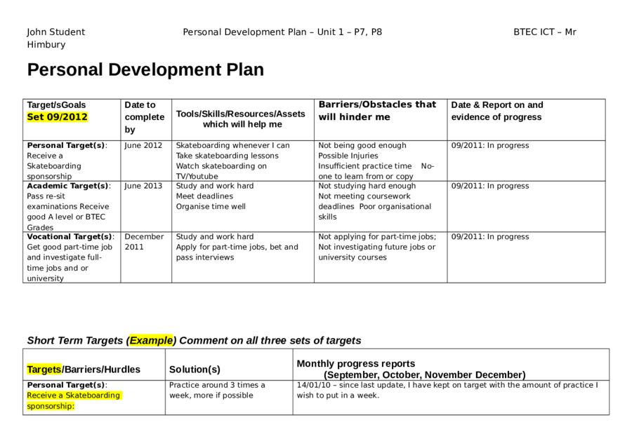 sample development plans