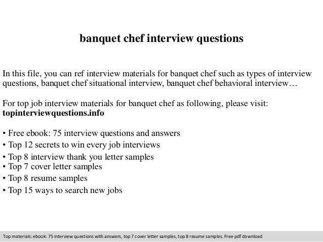 Banquet chef interview questions