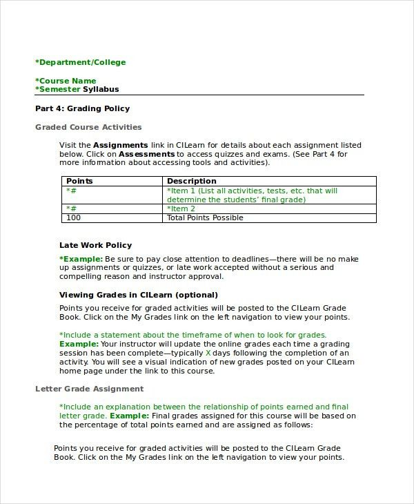 Syllabus Template - 7+ Free Word Documents Download | Free ...