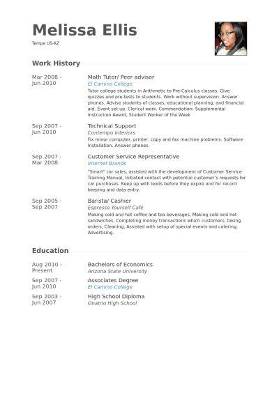 Peer Advisor Resume samples - VisualCV resume samples database