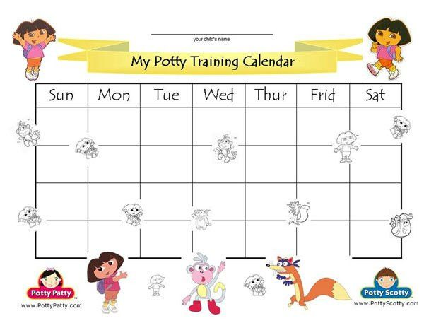 Dora the Explorer - Potty Training Calendar - COLOR | Potty ...