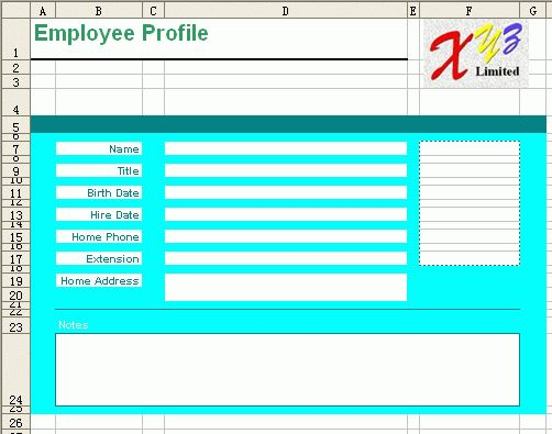 Free Excel Report Template - Employee Profile