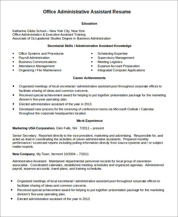 Administrative Assistant Resume Templates   6+ Free Word, PDF .