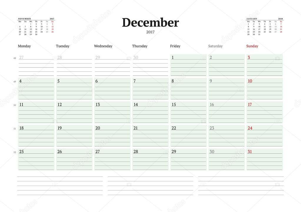 Calendar Template for 2017 Year. December. Business Planner 2017 ...
