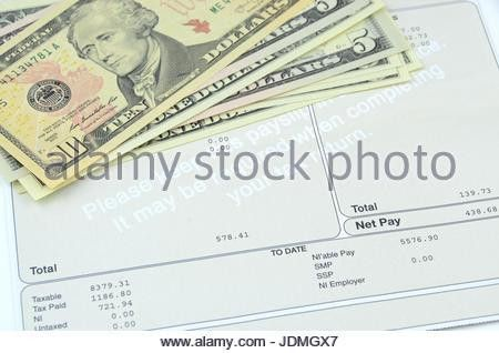 Pay slip wages slip salary pay packet salaries Stock Photo ...