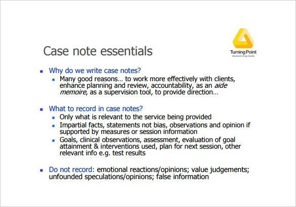 7+ Case Notes Templates – Free Sample, Example, Format Download ...