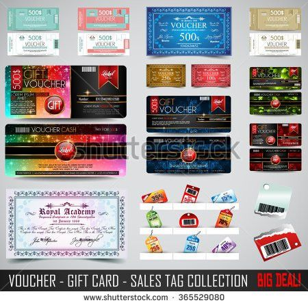 Set Voucher Gift Cards Layout Template Stock Vector 363684131 ...