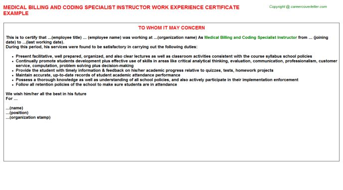 Medical Billing And Coding Specialist Instructor Work Experience ...