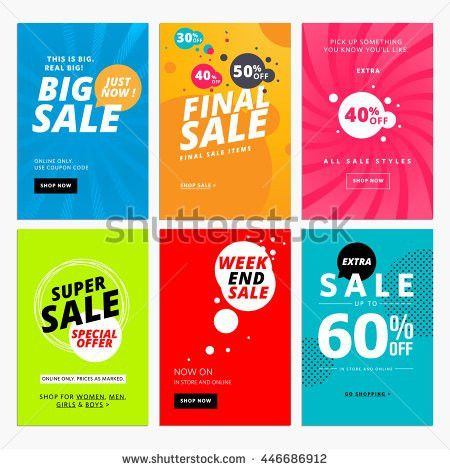 Set of sale website banner templates. Vector illustrations for ...