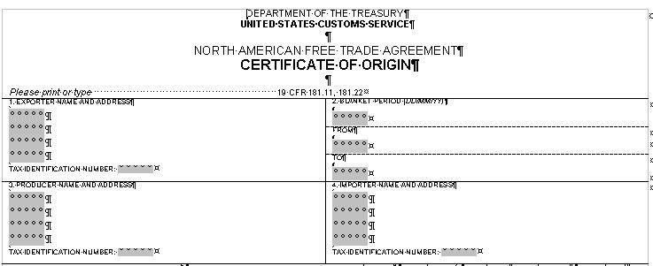 Certificate Of Origin Template | trademark