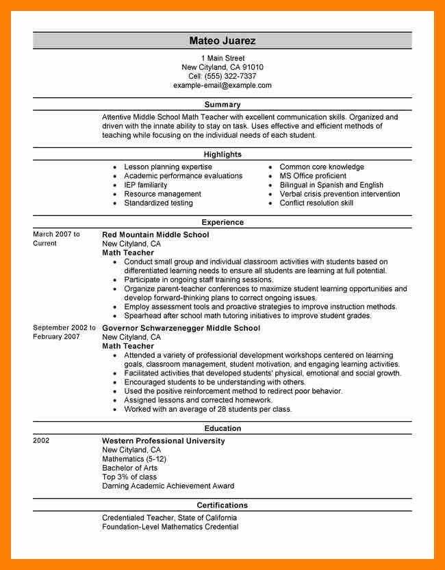 Examples Of Teacher Resume. Example Of Teachers Resume Academic Cv ...