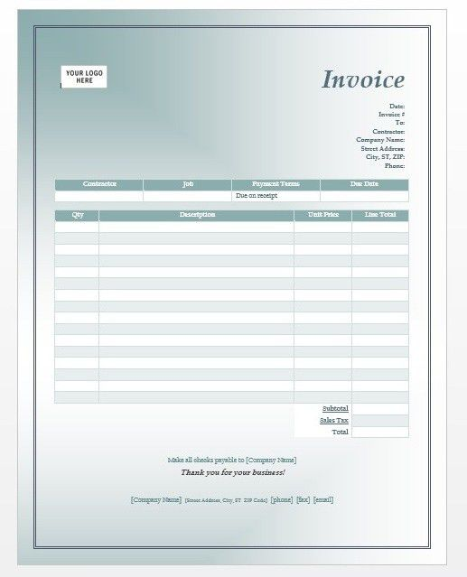 Invoice Template Free Sample Construction Invoice Template Invoice ...