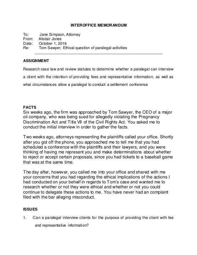 Alistair Jones Interoffice Memorandum Assignment