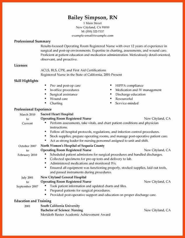 operating room nurse resume nicu nurse resume resume format pdf ...