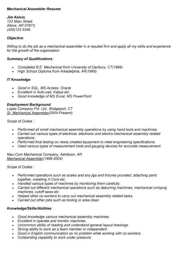 medical assembler resume unforgettable assembler resume examples
