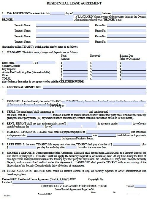 Sample Blank Lease Agreement. Rental Agreement Template Http ...