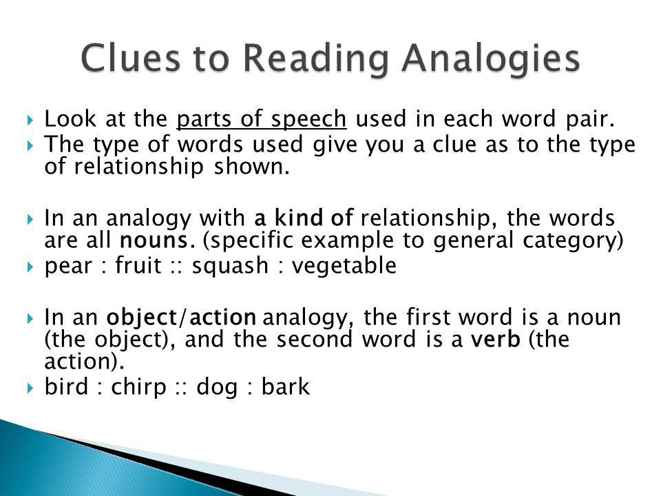 Relationships Between Words.  Analogies are based on ...