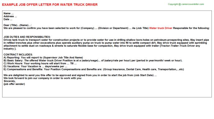 Water Truck Driver Offer Letter