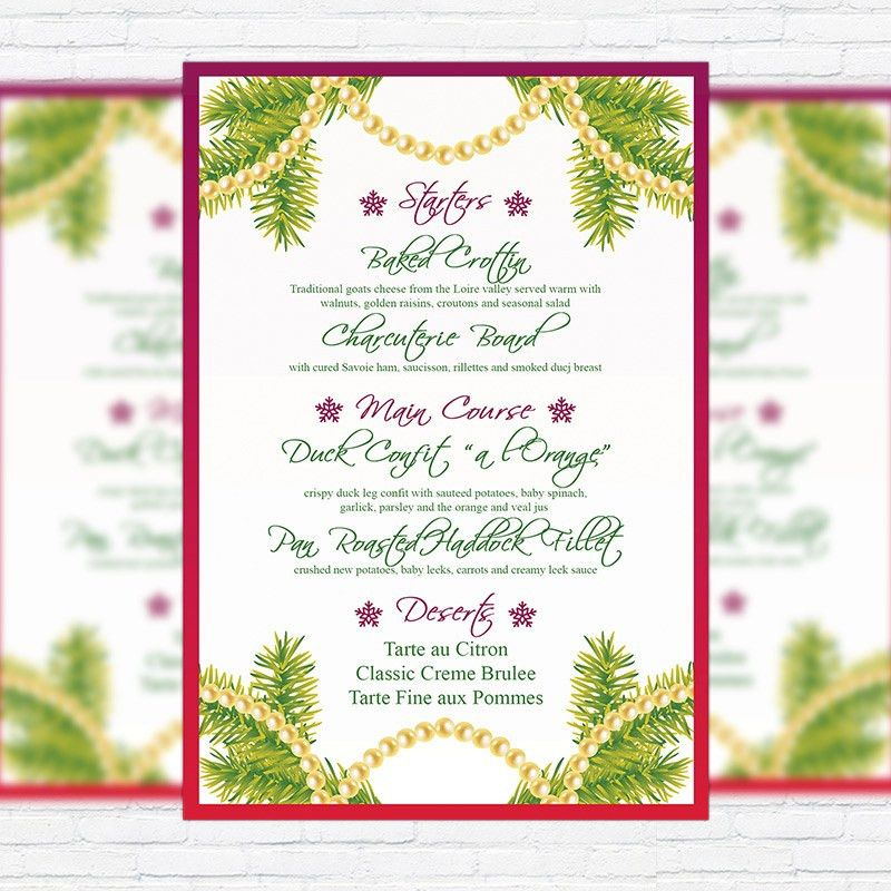 Christmas Menu Vol.2 – Premium A5 Menu Template | ExclsiveFlyer ...