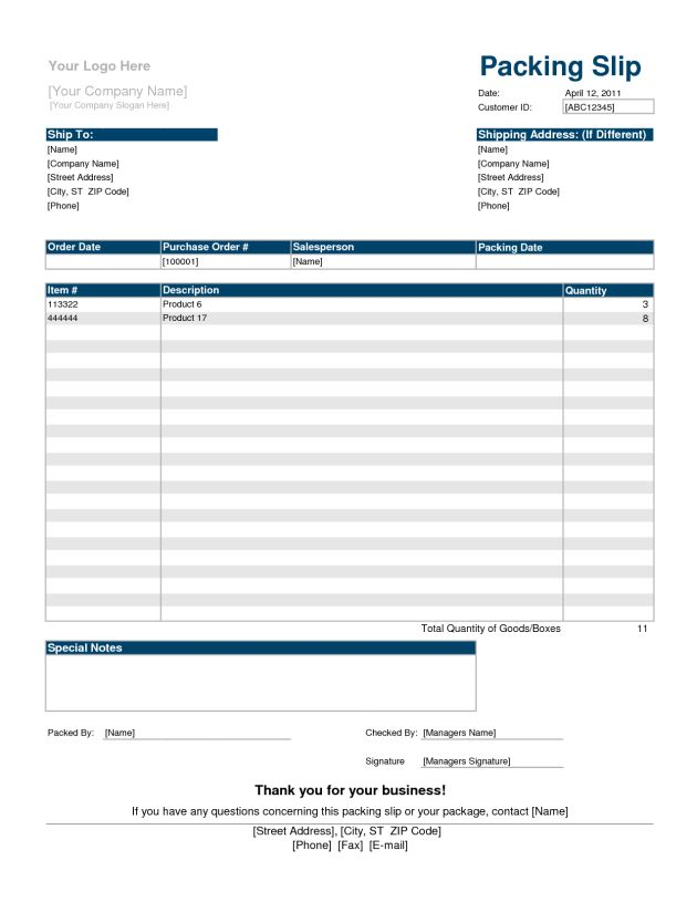Printable Shipping and Packing Slip Template Sample : Helloalive