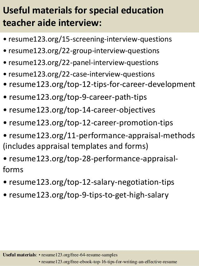 Top 8 special education teacher aide resume samples