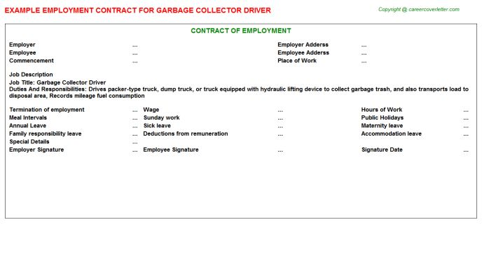 Garbage Collector Driver Employment Contract