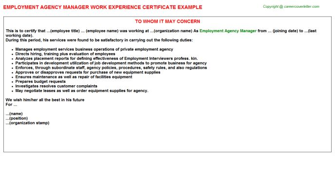 Employment Agency Manager Work Experience Certificate