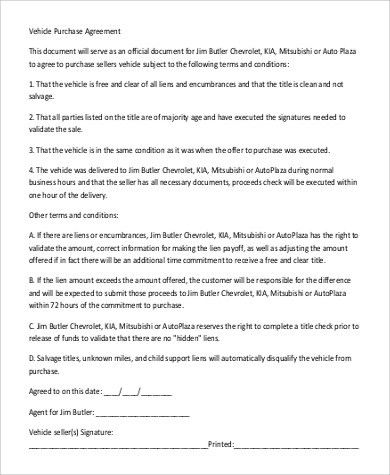 Vehicle Purchase Agreement Sample - 9+ Examples in Word, PDF