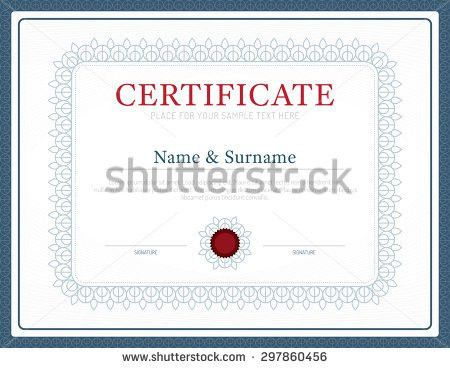 Certificate Kids Diploma Kindergarten Template Layout Stock Vector ...