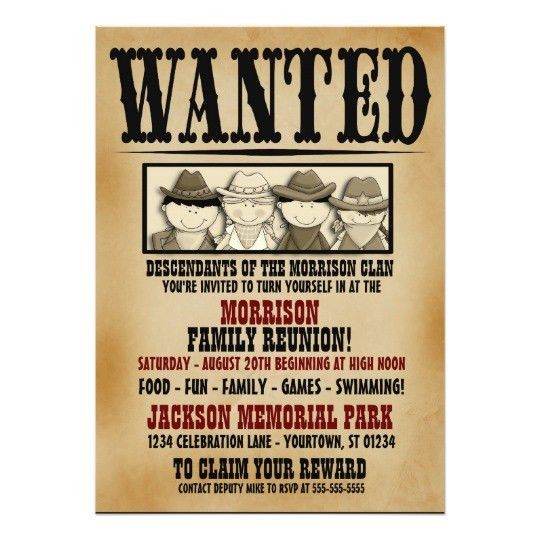 Wanted Poster Family Reunion Barbeque Invitation | Zazzle.com