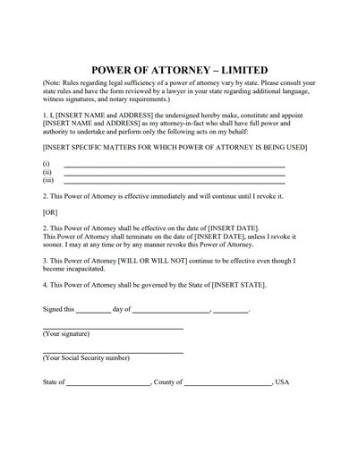 Limited Power of Attorney Form: Download, Create, Fill & Print
