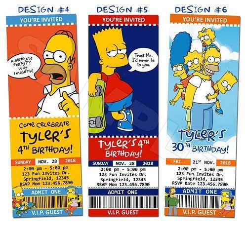 Simpsons Homer Birthday Party Ticket Invitations Custom ...