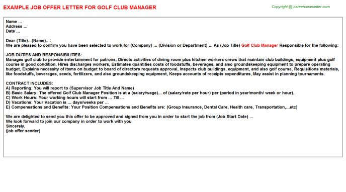 Golf Club Manager Offer Letter